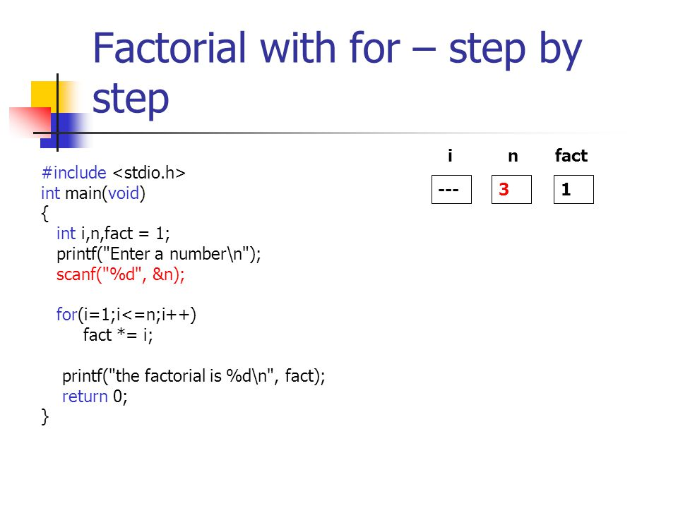 Factorial with for – step by step #include int main(void) { int i,n,fact = 1; printf( Enter a number\n ); scanf( %d , &n); for(i=1;i<=n;i++) fact *= i; printf( the factorial is %d\n , fact); return 0; } --- i 3 n 1 fact