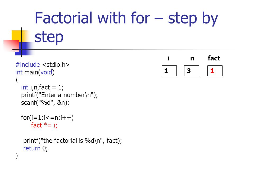Factorial with for – step by step #include int main(void) { int i,n,fact = 1; printf( Enter a number\n ); scanf( %d , &n); for(i=1;i<=n;i++) fact *= i; printf( the factorial is %d\n , fact); return 0; } 1 i 3 n 1 fact