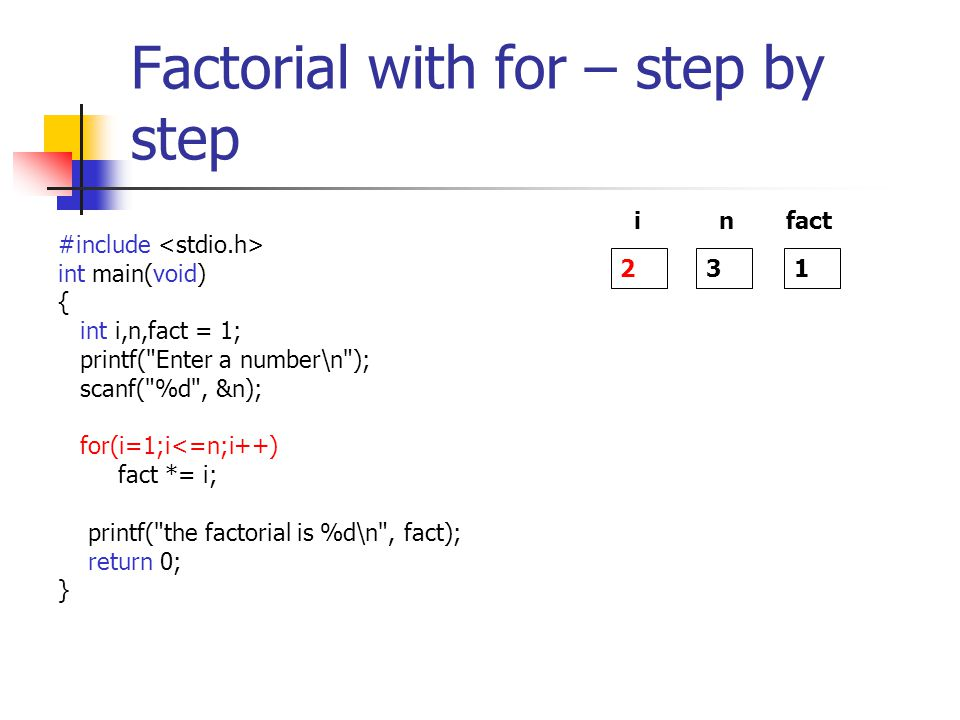 Factorial with for – step by step #include int main(void) { int i,n,fact = 1; printf( Enter a number\n ); scanf( %d , &n); for(i=1;i<=n;i++) fact *= i; printf( the factorial is %d\n , fact); return 0; } 2 i 3 n 1 fact