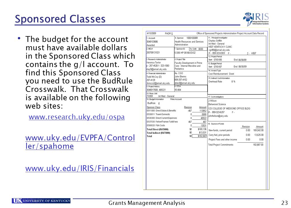 Grants Management Analysis23 Sponsored Classes The budget for the account must have available dollars in the Sponsored Class which contains the g/l account.
