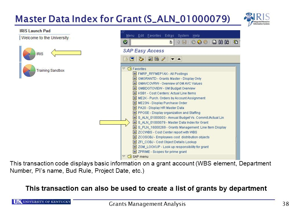 Grants Management Analysis38 Master Data Index for Grant (S_ALN_01000079) This transaction code displays basic information on a grant account (WBS element, Department Number, PI's name, Bud Rule, Project Date, etc.) This transaction can also be used to create a list of grants by department