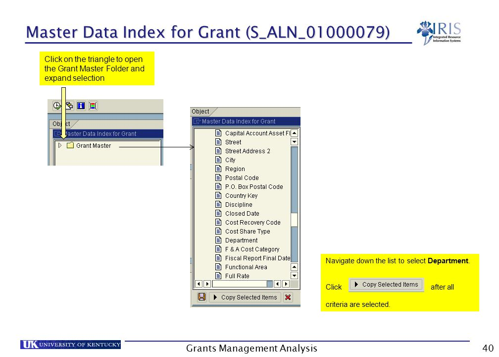 Master Data Index for Grant (S_ALN_01000079) Grants Management Analysis40 Click on the triangle to open the Grant Master Folder and expand selection Navigate down the list to select Department.