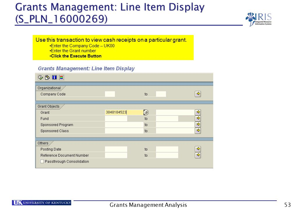 Grants Management: Line Item Display (S_PLN_16000269) Grants Management Analysis53 Use this transaction to view cash receipts on a particular grant.