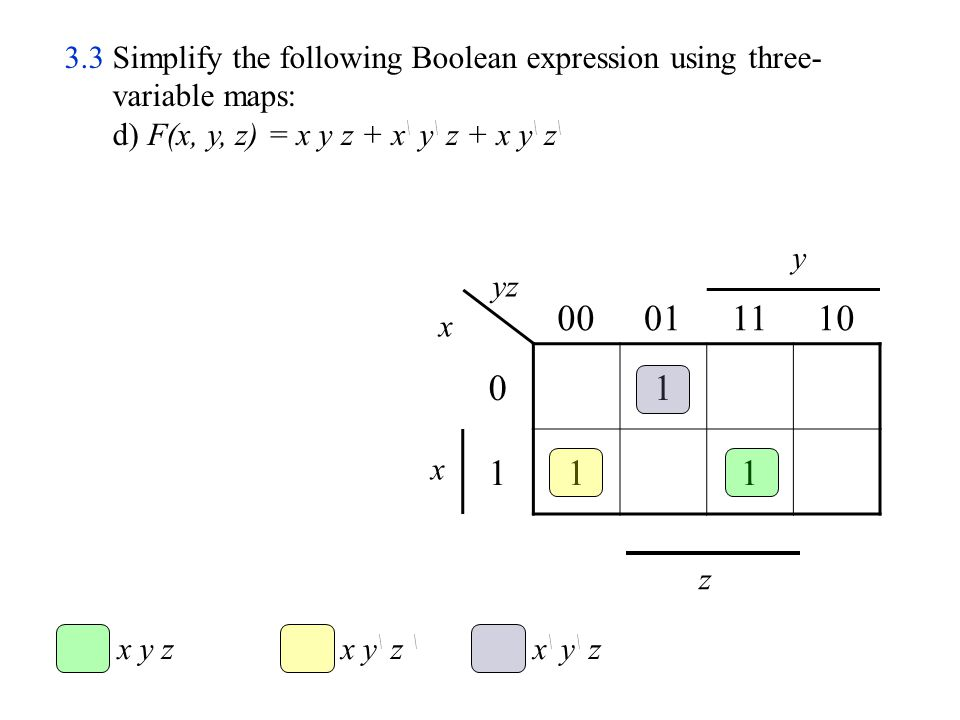 B C \ D \ A \ C 00011110 000100 010100 110111 101111 A \ D \ D C A B AB CD 3.13 Simplify the following Boolean expression to (1) sum-of-products (2) product-of-sums b) ACD \ +C \ D+AB \ +ABCD 2) F \ = A \ D \ +A \ C+BC \ D \ F = (A+D)(A+C \ )(B \ +C+D)