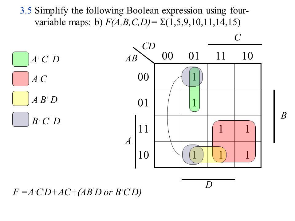 x \ y \ w \ x 00011110 0011 011111 11 1011 z y w x wx yz 3.5 Simplify the following Boolean expression using four- variable maps: c) F(w,x, y, z) =  (0,1,4,5,6,7,8,9) F =x \ y \ +w \ x
