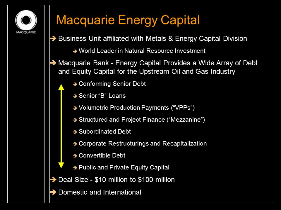 Macquarie Energy Capital  Business Unit affiliated with Metals & Energy Capital Division  World Leader in Natural Resource Investment  Macquarie Ba