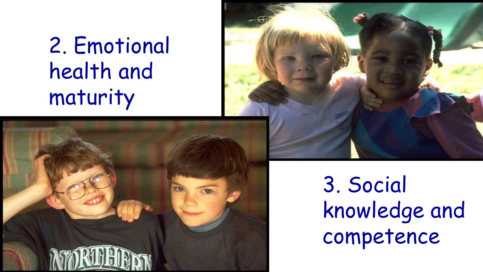 2. Emotional health and maturity 3. Social knowledge and competence