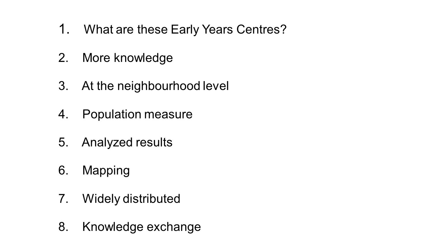 Early Development Instrument  reflects preschool services offered in the child's community  every kindergarten teacher completes an 8 page questionnaire for each of their (5 year old) students in February  five domains of children's early development… Catharine Tozer, Ontario Early Years Centres & Early Development Instrument (EDI)