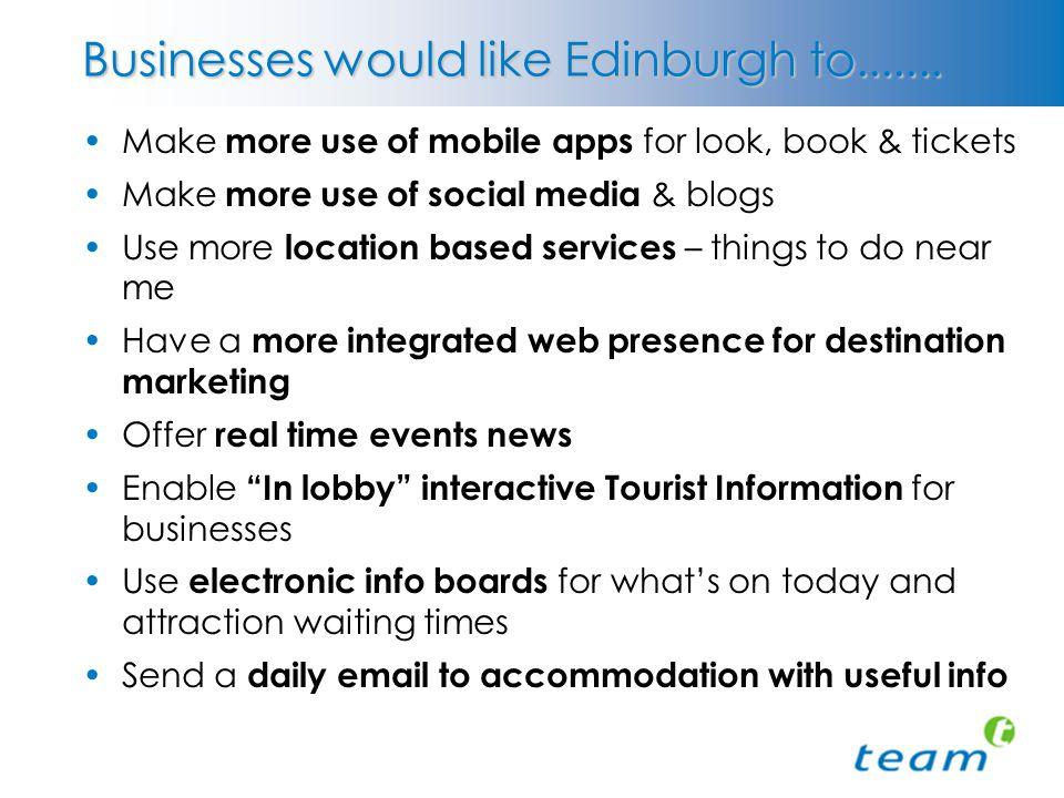 Businesses would like Edinburgh to.......