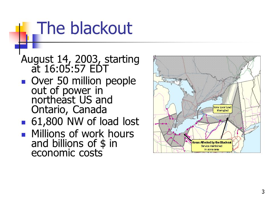 3 The blackout August 14, 2003, starting at 16:05:57 EDT Over 50 million people out of power in northeast US and Ontario, Canada 61,800 NW of load los