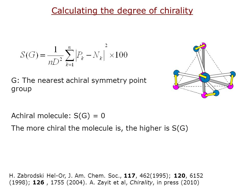Calculating the degree of chirality G: The nearest achiral symmetry point group Achiral molecule: S(G) = 0 The more chiral the molecule is, the higher is S(G) H.