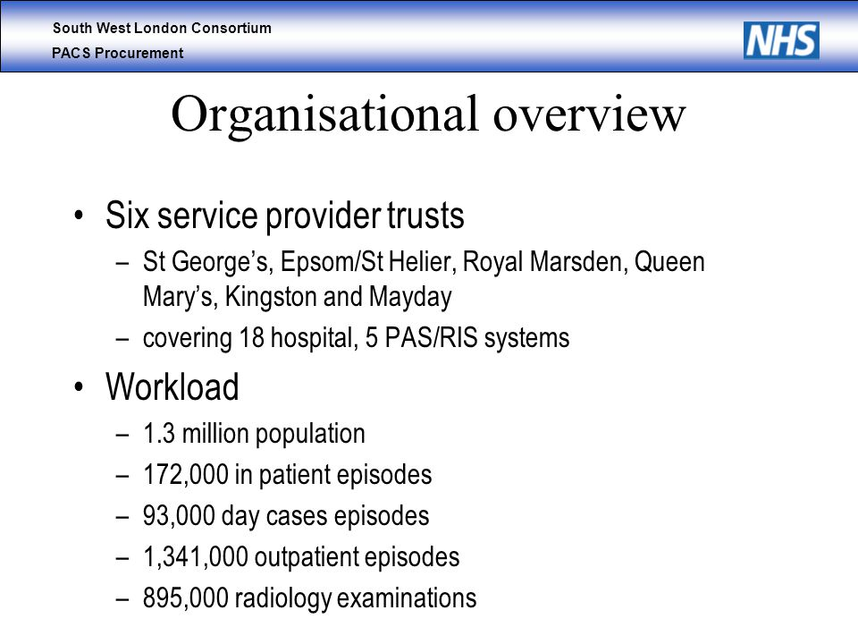 South West London Consortium PACS Procurement Organisational overview Six service provider trusts –St George's, Epsom/St Helier, Royal Marsden, Queen