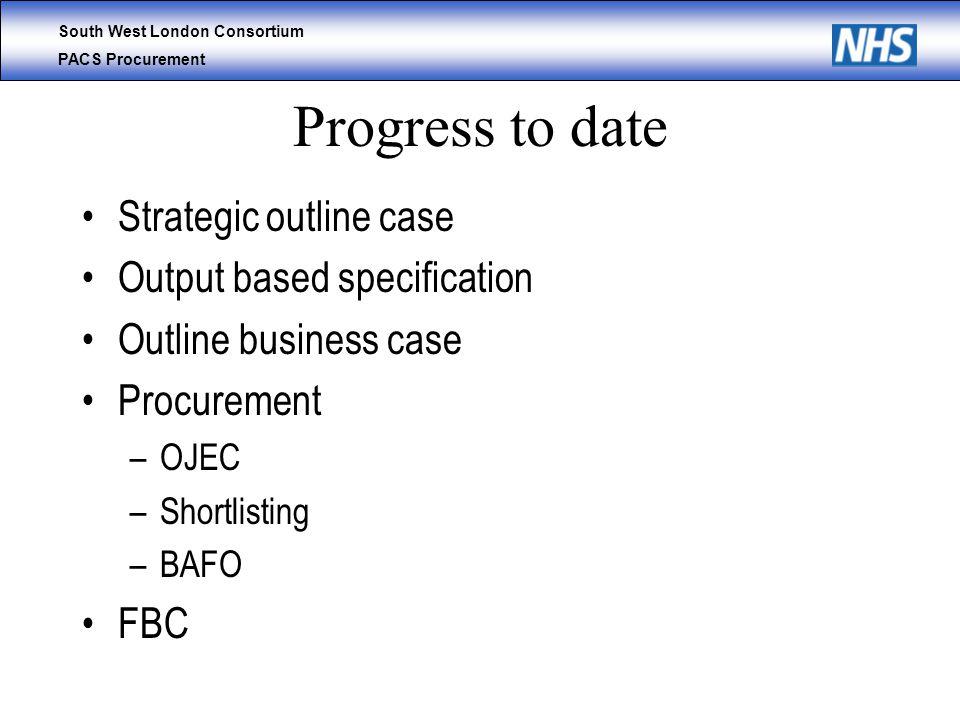 South West London Consortium PACS Procurement Progress to date Strategic outline case Output based specification Outline business case Procurement –OJEC –Shortlisting –BAFO FBC