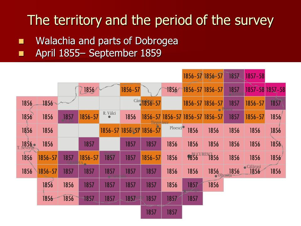 The territory and the period of the survey Walachia and parts of Dobrogea Walachia and parts of Dobrogea April 1855– September 1859 April 1855– September 1859