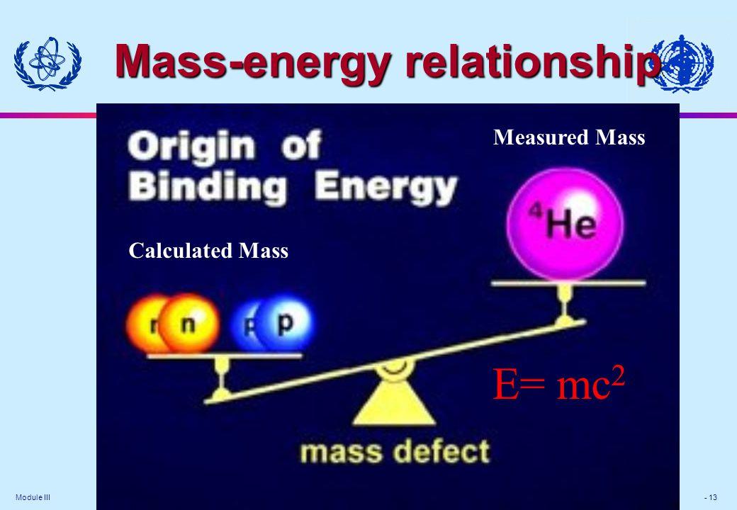 Module III - 13 E= mc 2 Measured Mass Calculated Mass Mass-energy relationship