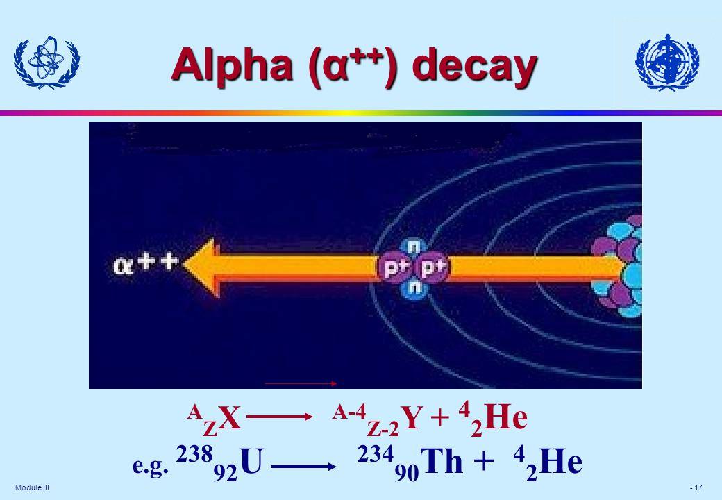 Module III - 17 A Z X A-4 Z-2 Y + 4 2 He e.g. 238 92 U 234 90 Th + 4 2 He Alpha (α ++ ) decay