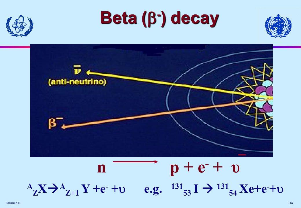 Module III - 18 n p + e - + υ A Z X  A Z+1 Y +e - +  e.g.