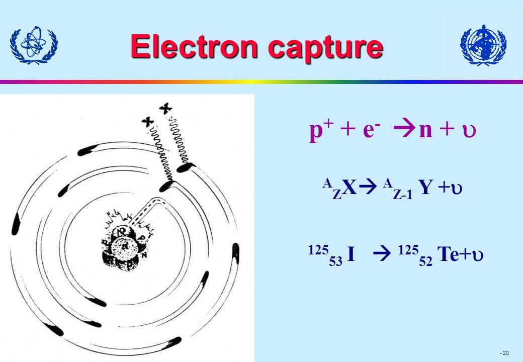 Module III - 20 Electron capture p + + e -  n +  A Z X  A Z-1 Y +  125 53 I  125 52 Te+ 