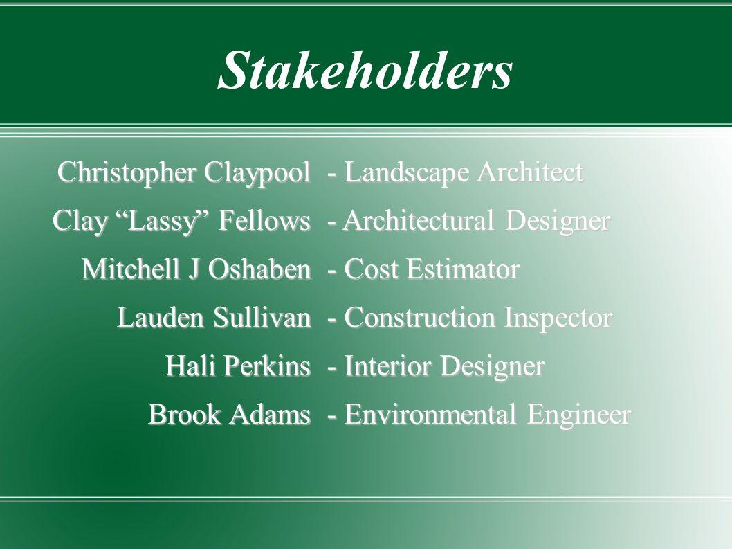 "Christopher Claypool Clay ""Lassy"" Fellows Mitchell J Oshaben Lauden Sullivan Hali Perkins Brook Adams Stakeholders - Landscape Architect - Architectur"