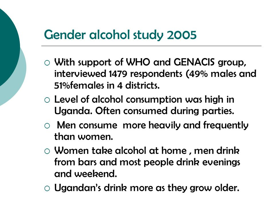 Gender alcohol study 2005  With support of WHO and GENACIS group, interviewed 1479 respondents (49% males and 51%females in 4 districts.  Level of a