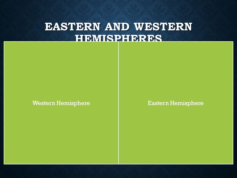 EASTERN AND WESTERN HEMISPHERES Eastern HemisphereWestern Hemisphere
