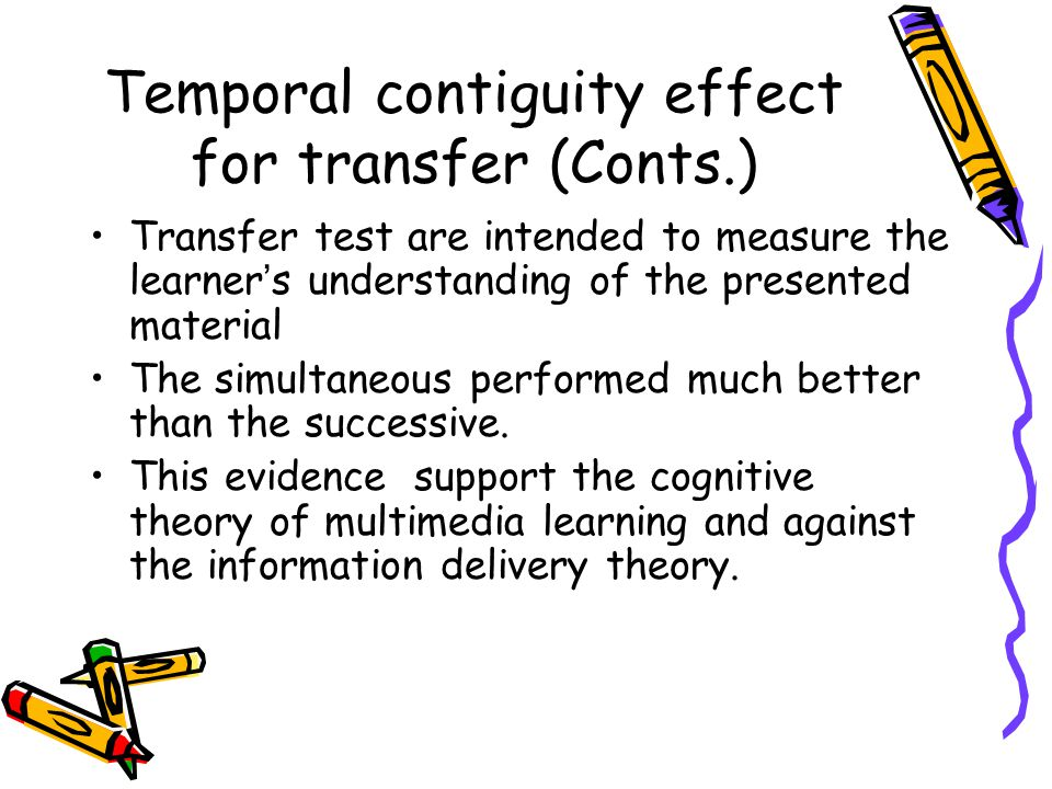 Temporal contiguity effect for transfer (Conts.) Transfer test are intended to measure the learner ' s understanding of the presented material The sim