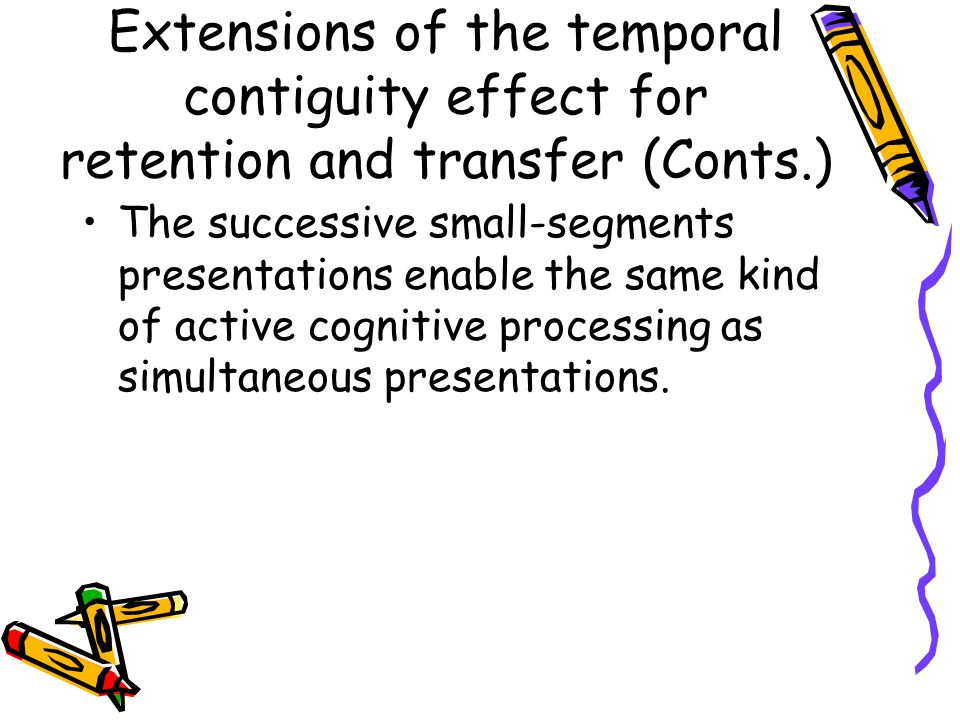 The successive small-segments presentations enable the same kind of active cognitive processing as simultaneous presentations.