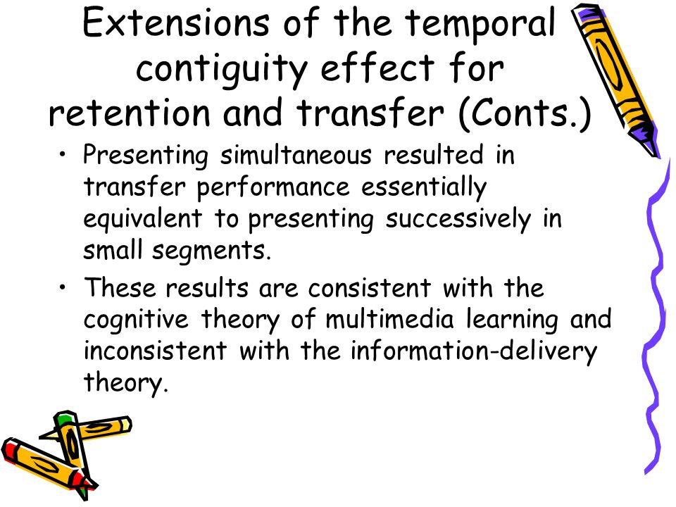 Presenting simultaneous resulted in transfer performance essentially equivalent to presenting successively in small segments. These results are consis