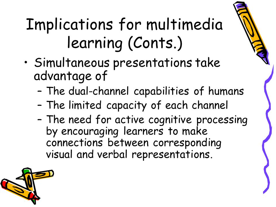 Implications for multimedia learning (Conts.) Simultaneous presentations take advantage of –The dual-channel capabilities of humans –The limited capac