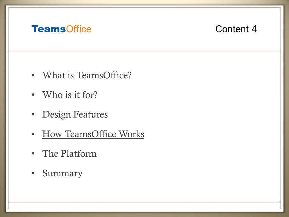 Teams Office Content 4 What is TeamsOffice. Who is it for.
