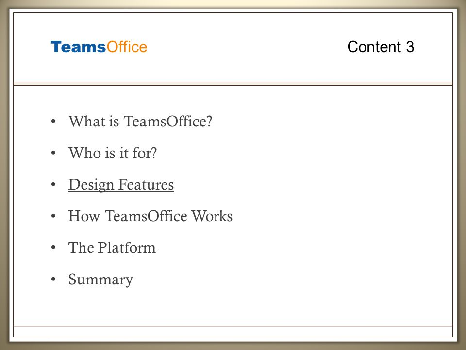 Teams Office Content 3 What is TeamsOffice. Who is it for.