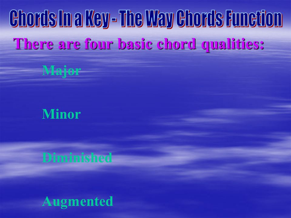 There are four basic chord qualities: Major Minor Diminished Augmented