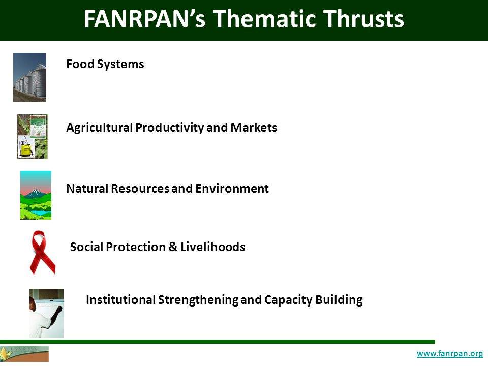 www.fanrpan.org FANRPAN's Thematic Thrusts Social Protection & Livelihoods Food Systems Agricultural Productivity and Markets Natural Resources and Environment Institutional Strengthening and Capacity Building