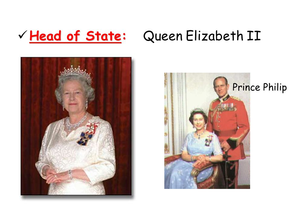 Head of State: Queen Elizabeth II Prince Philip