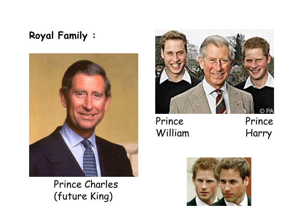 Royal Family : Prince Charles (future King) Prince William Prince Harry