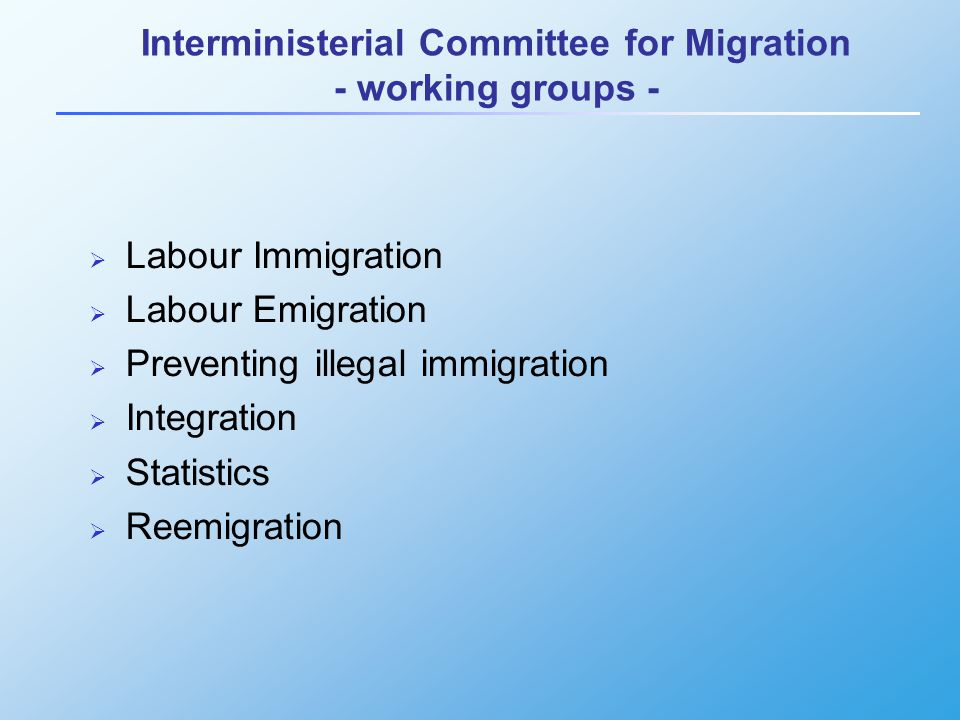 Interministerial Committee for Migration - working groups -  Labour Immigration  Labour Emigration  Preventing illegal immigration  Integration  Statistics  Reemigration