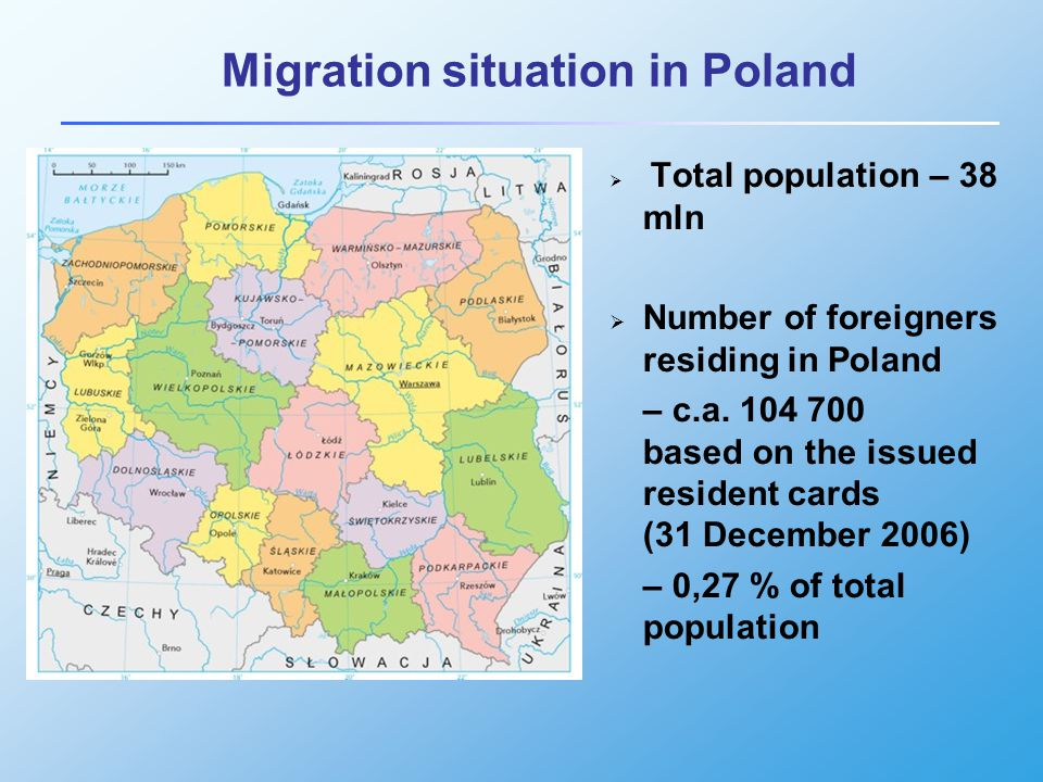 Migration situation in Poland  Total population – 38 mln  Number of foreigners residing in Poland – c.a.