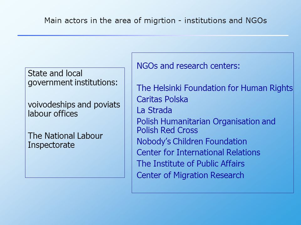 Challenges for migration policy  Migration management - labour migration from and to Poland - reliable migration data - policy coherence and interinstitutional cooperation  Preventing illegal immigration - links between illegal immigration and illegal employment  International dimension - changes in migration patterns - EU and global context