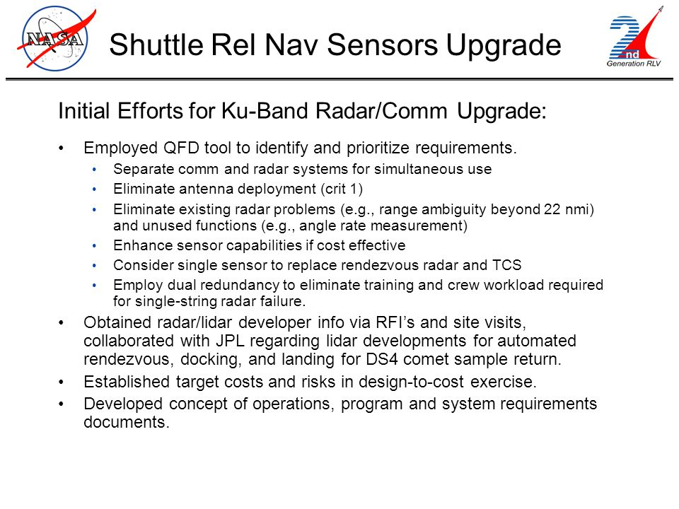 Initial Efforts for Ku-Band Radar/Comm Upgrade: Employed QFD tool to identify and prioritize requirements.