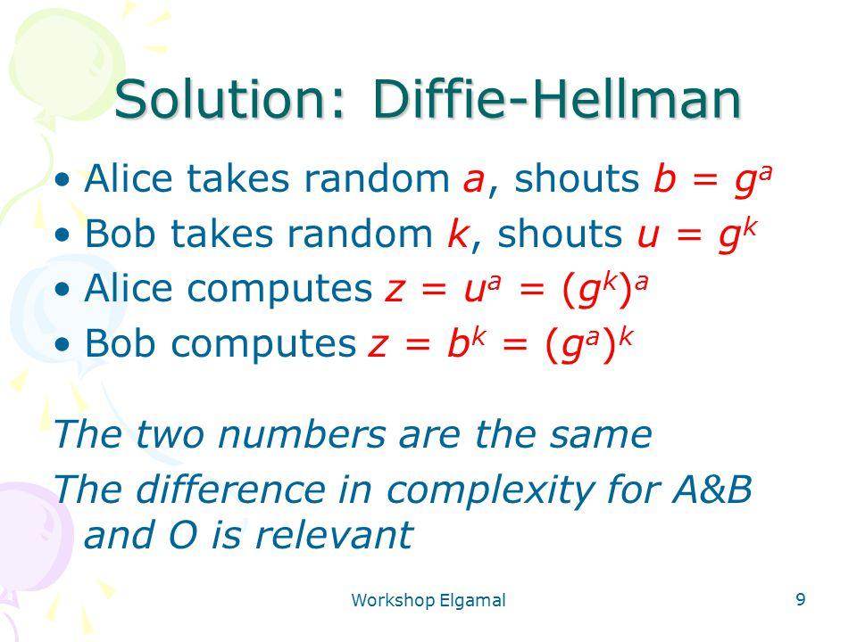 Workshop Elgamal 9 Solution: Diffie-Hellman Alice takes random a, shouts b = g a Bob takes random k, shouts u = g k Alice computes z = u a = (g k ) a