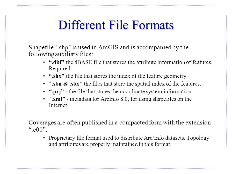 Different File Formats Shapefile .shp is used in ArcGIS and is accompanied by the following auxiliary files: .dbf the dBASE file that stores the attribute information of features.