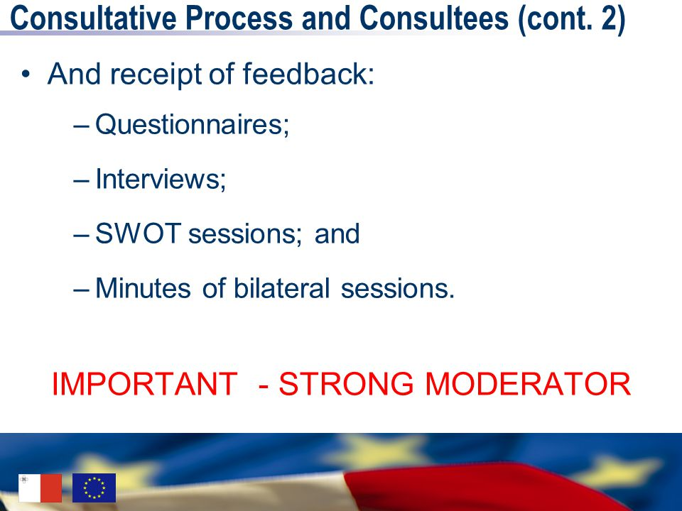 Consultative Process and Consultees (cont.