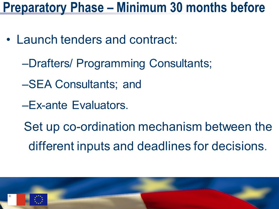 Preparatory Phase – Minimum 30 months before Launch tenders and contract: –Drafters/ Programming Consultants; –SEA Consultants; and –Ex-ante Evaluators.