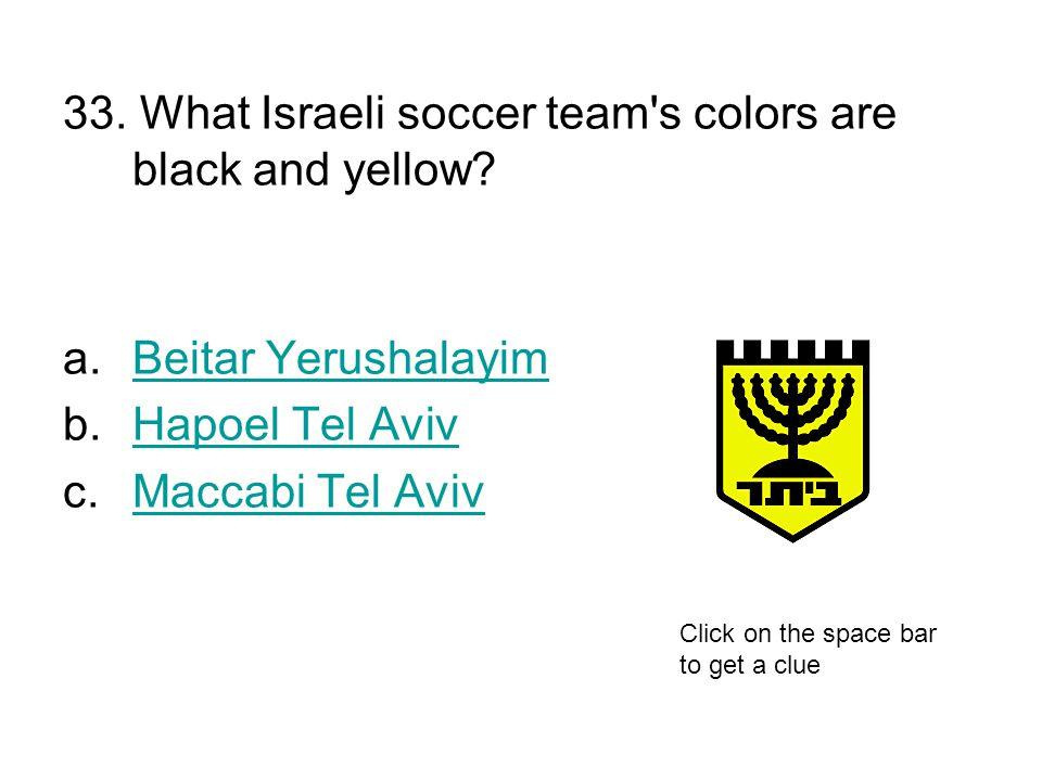 33. What Israeli soccer team's colors are black and yellow? a.Beitar YerushalayimBeitar Yerushalayim b.Hapoel Tel AvivHapoel Tel Aviv c.Maccabi Tel Av