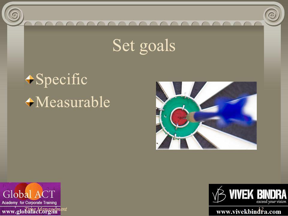 Time Management12 Set goals Specific Measurable
