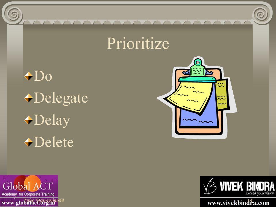 Time Management14 Prioritize Do Delegate Delay Delete