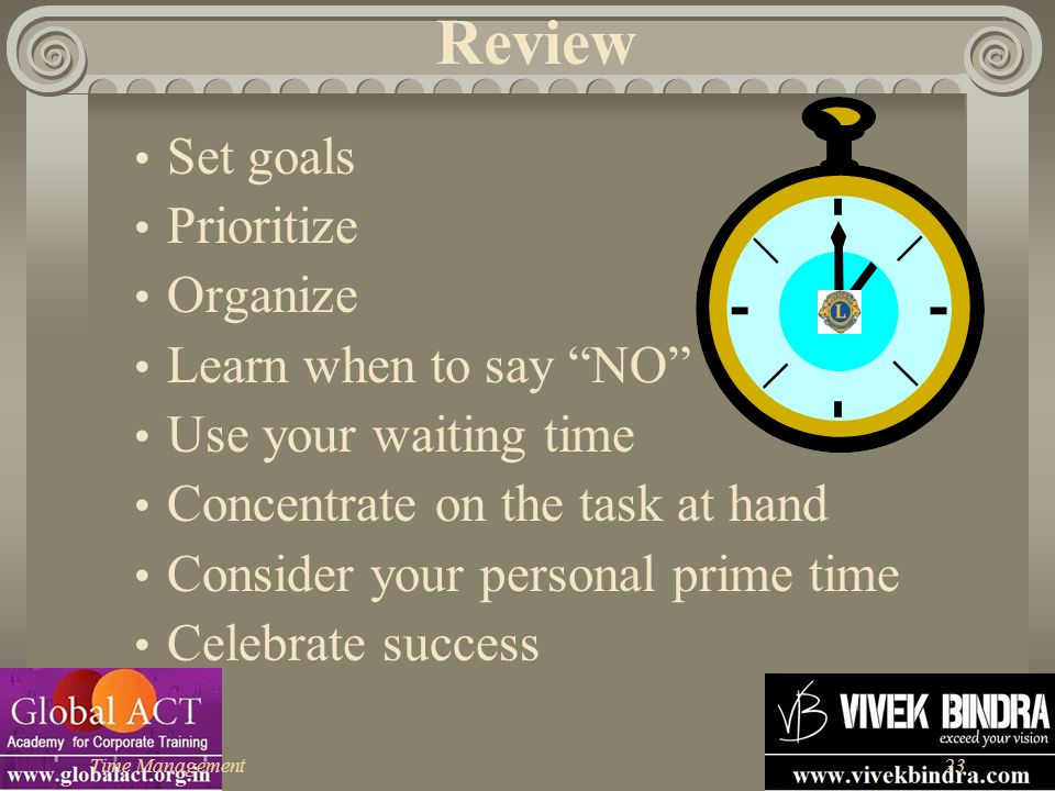"""Time Management23 Review Set goals Prioritize Organize Learn when to say """"NO"""" Use your waiting time Concentrate on the task at hand Consider your pers"""