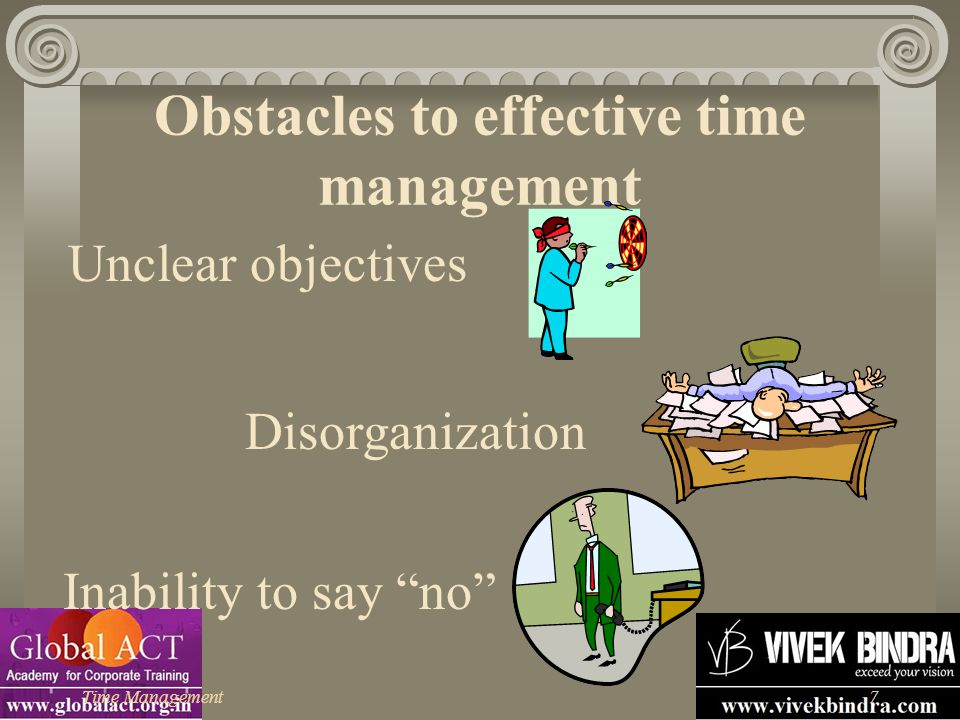 """Time Management7 Obstacles to effective time management Unclear objectives Disorganization Inability to say """"no"""""""