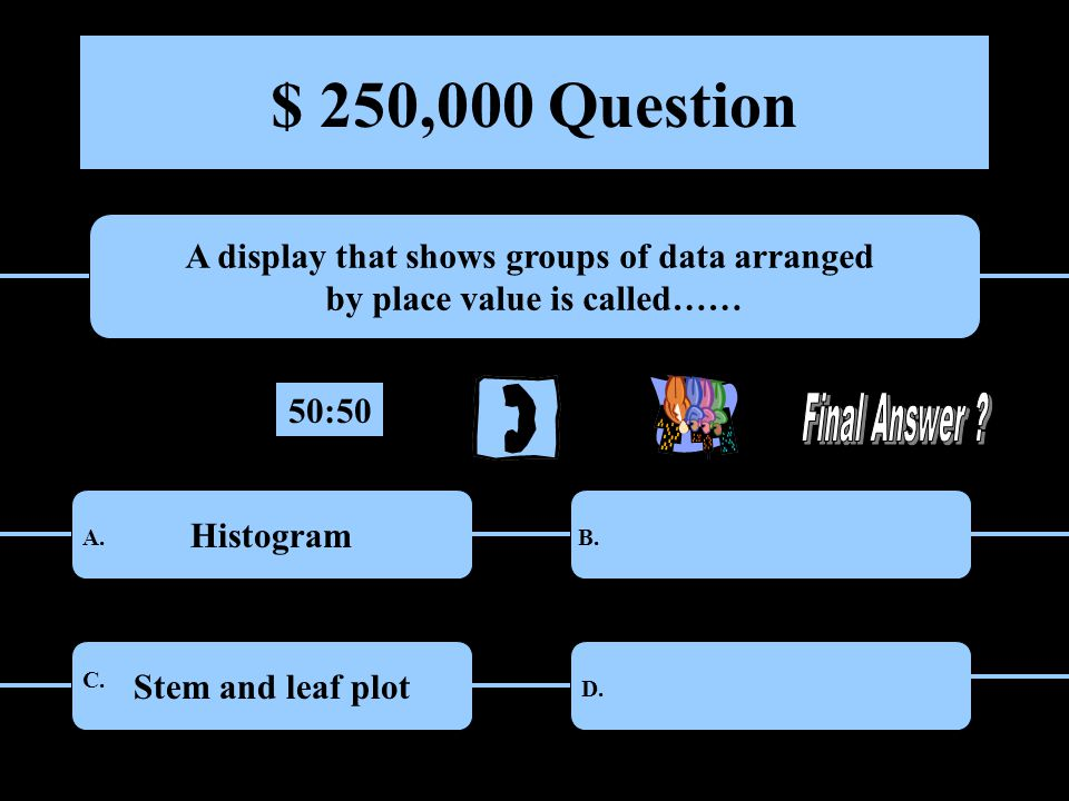 $ 250,000 Question A display that shows groups of data arranged by place value is called…… HistogramRange Stem and leaf plotBar graph A.B.
