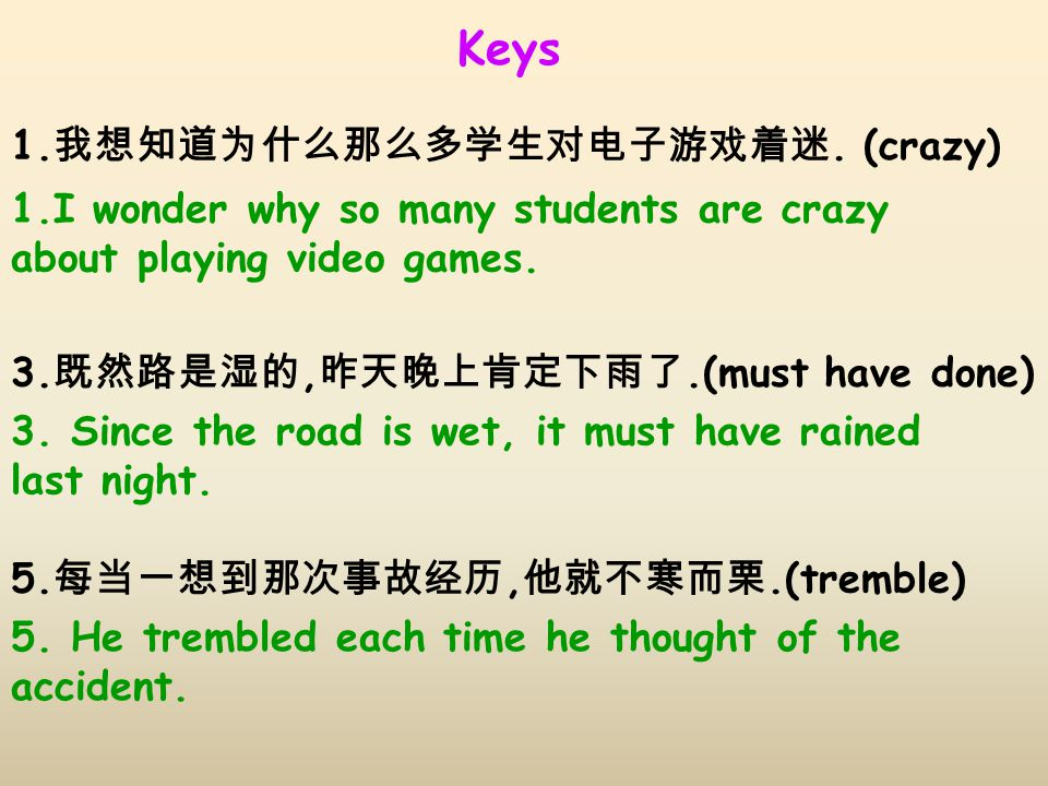 Keys 1.I wonder why so many students are crazy about playing video games.